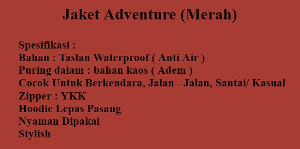 JAKET ADVENTURE RED Jaket Jaket Adventure Pria Jaket Adventure Keren Jaket  Parasut 35d2c9fe18