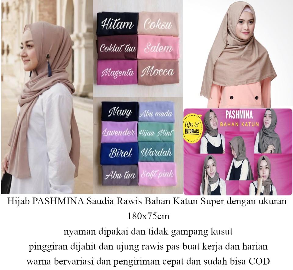 Hijab Jilbab Kerudung Pashmina Saudia Katun Rawis Lazada Indonesia