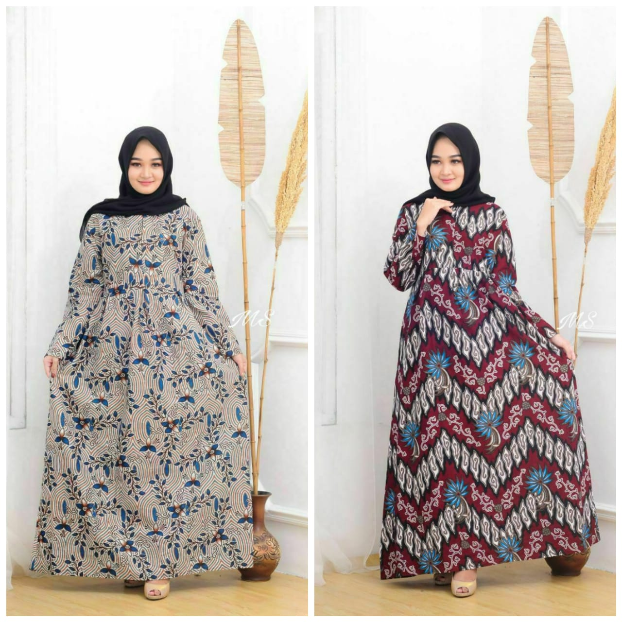Gamis batik wanita modern 11 gamis pesta model gamis batik Gamis Wanita  batik Motif Mekar modern model terbaru 11 Kekinian gamis pesta exclusive