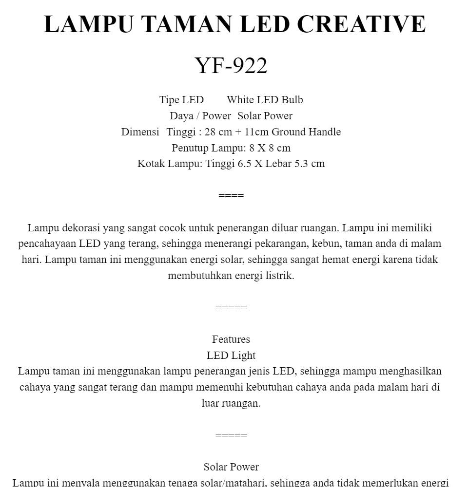Bisa Cod Lampu Taman Yf 922 Lampu Taman Led Creative Energi Solar Lampu Penerangan Lampu Outdoor Aksesoris Taman A1088 Lazada Indonesia