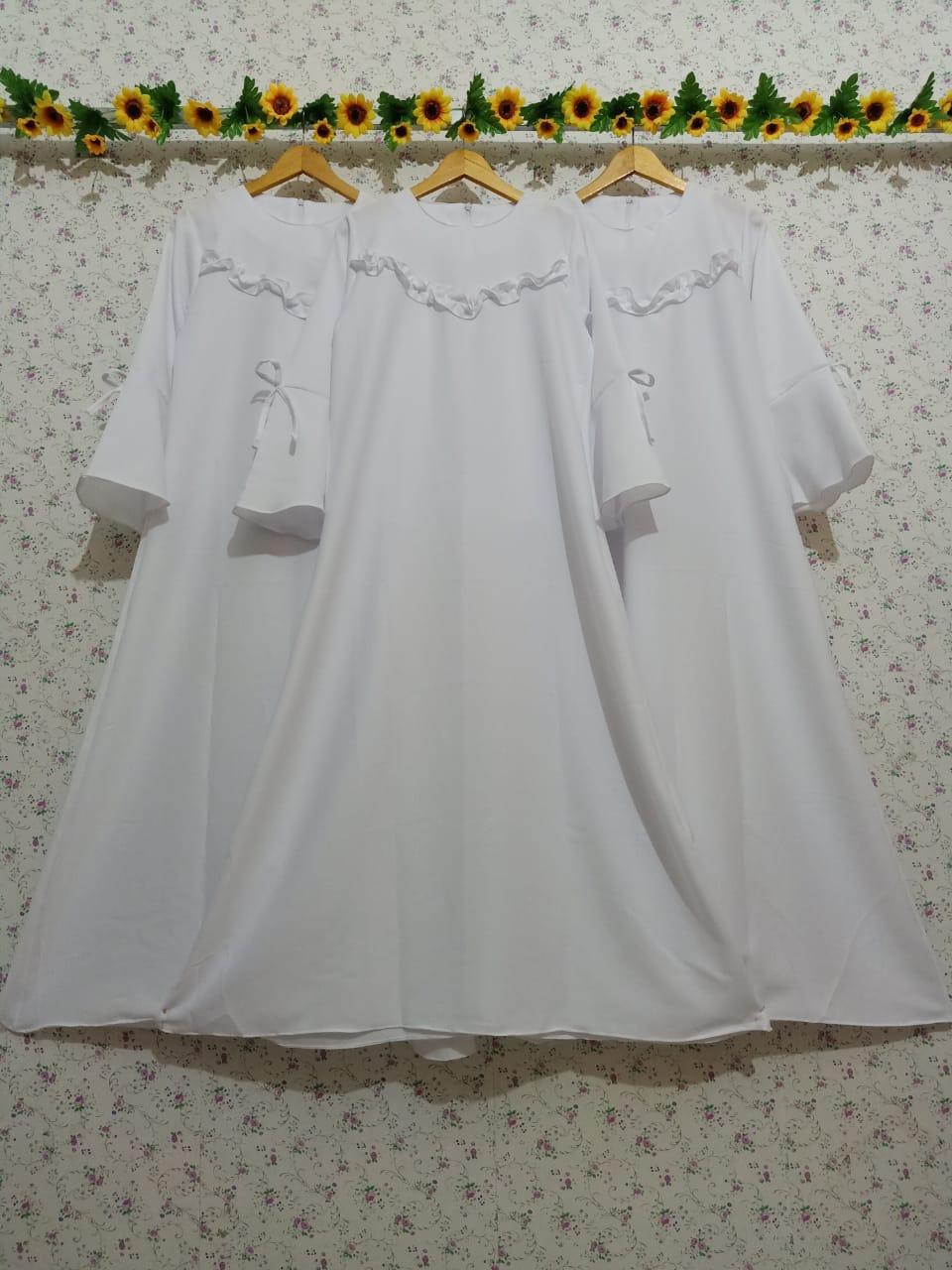 [COD] Gamis Putih MOSCREPE TEBAL Baju Wanita Kekinian syari gamis polos  trendy