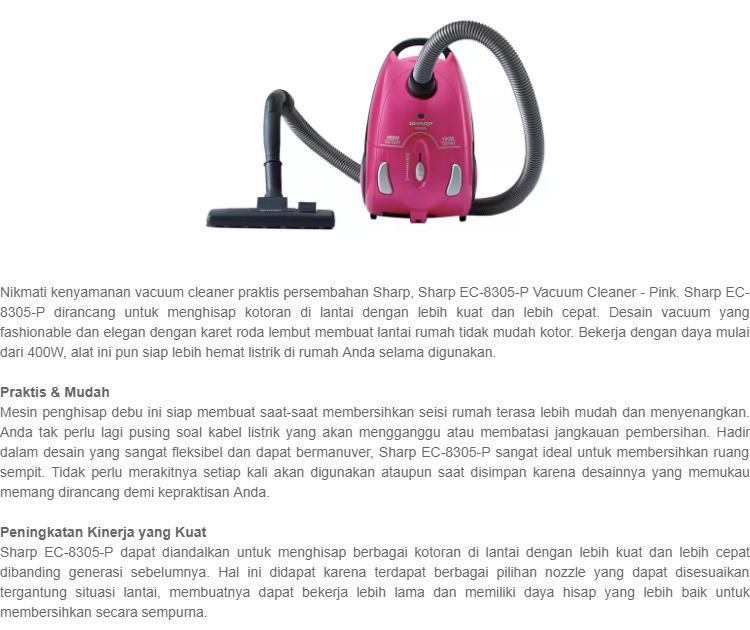 Sharp EC-8305-P Vacuum Cleaner - Pink ...