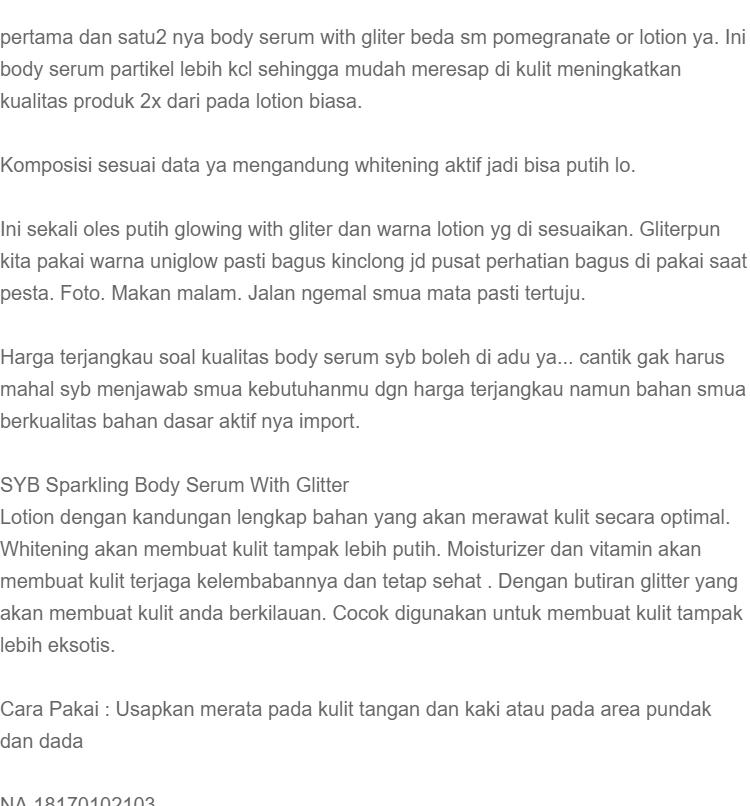 Serum Pemutih Badan - Sparkling Body Serum Original 100% BPOM, Serum Hand Body Lotion