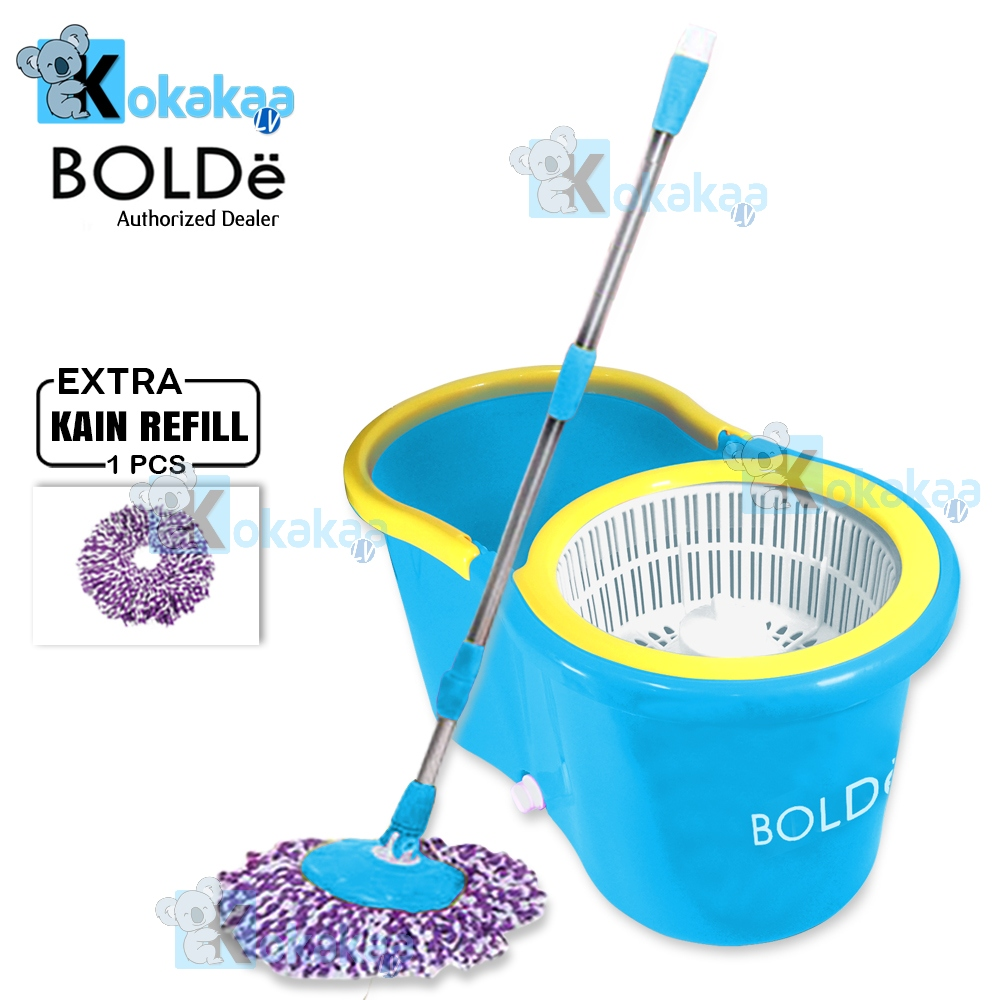 Spesifikasi dari Bolde Super Mop Original Alat Pel Lantai Otomatis M-168X+ Plus Extra 1 Refill - Biru Tosca