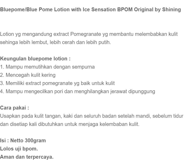 ... BPOM - Blue Pome Glutahtione Whitening Body Lotion - Body Lotion Blue Pome ASLI BPOM JWB Pomegranate - BlackPome with Ice Sensation   Lazada Indonesia