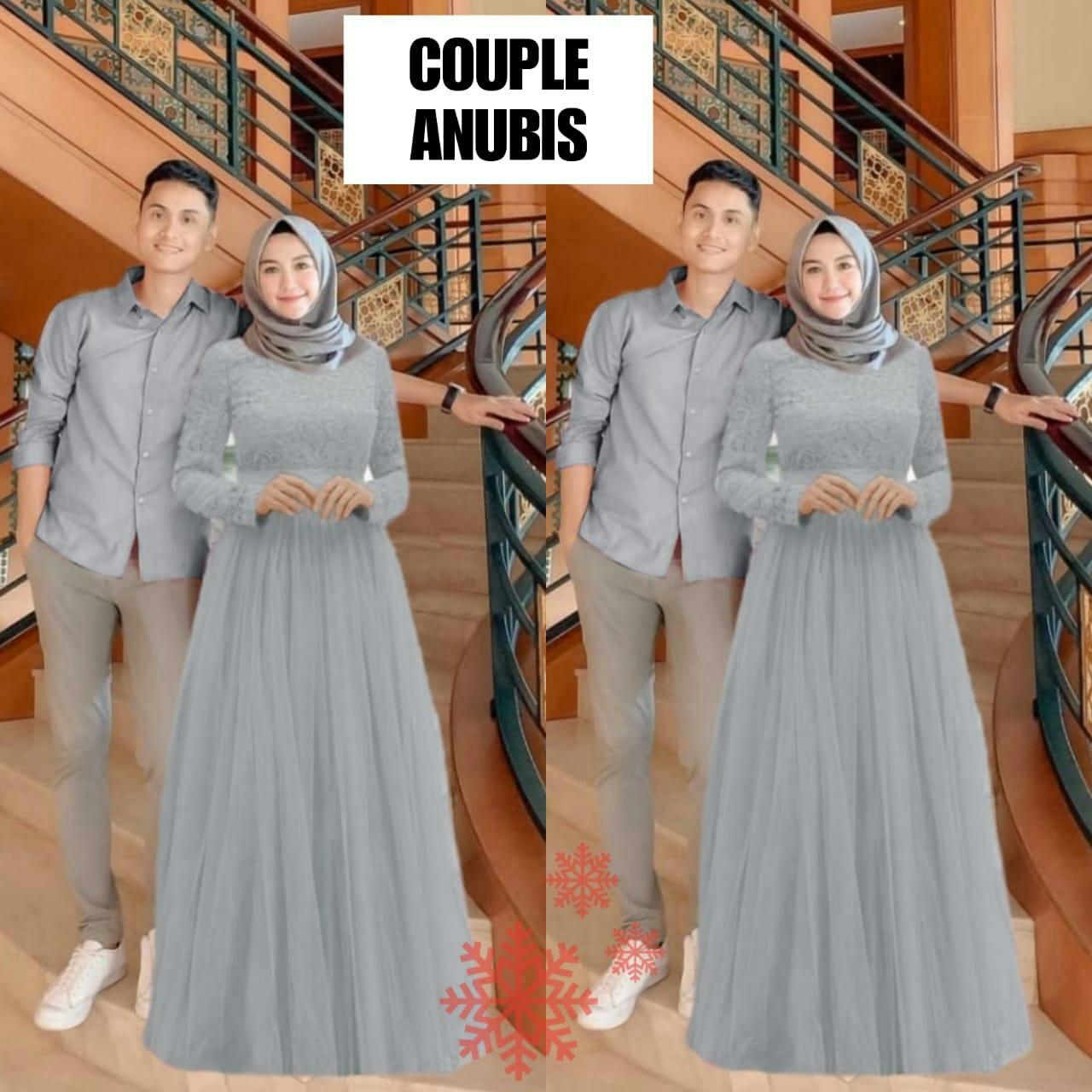 DoubleMM Fashion Cp Anubis - Pakaian Baju Couple Kemeja Pria & Gamis Wanita  Muslimah Gamis Brukat Tile Kemeja T-Shirt Polos Pria Baju Couple Pesta