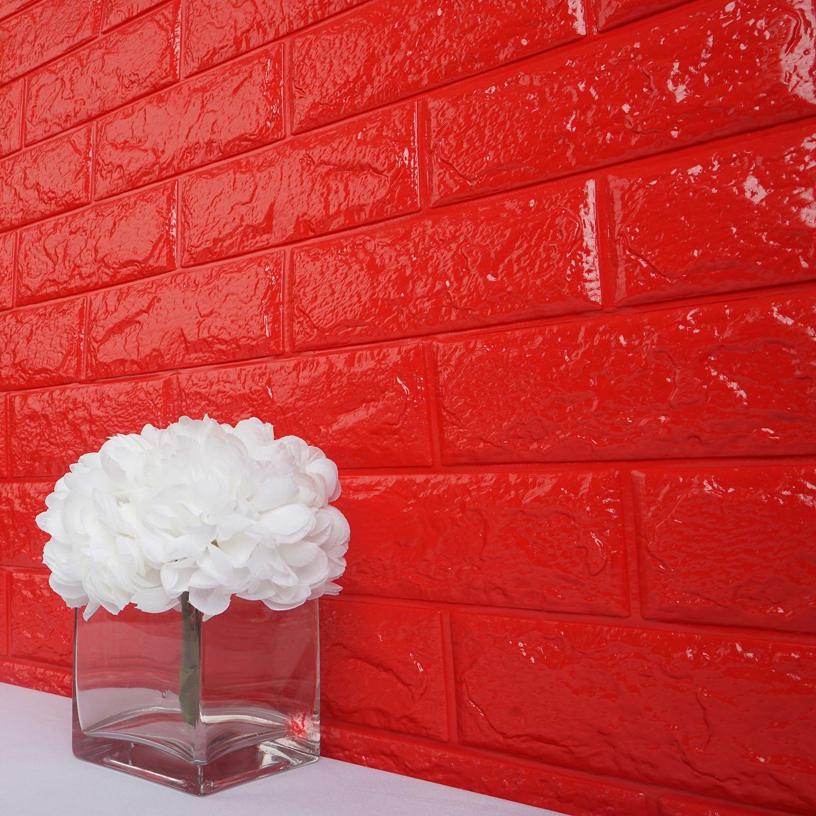 Wallpaper Dinding Foam 3D Batu Bata Putih Hitam Hijau Merah Ukuran 70 X 77 Cm