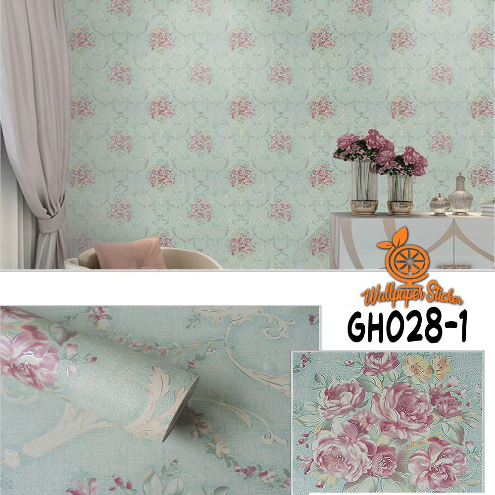 ALS Wallpaper Stiker Dinding Motif Dan Karakter Premium Matte Quality Size 45cm X 5M Batik Kembang Hijau Tosca GH028 1
