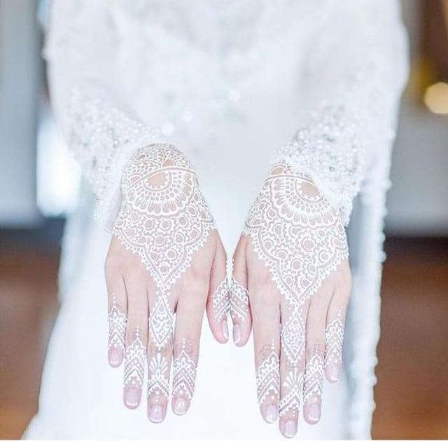 Premium Henna White Putih Waterproof Henna Pengantin Golecha Body Painting Hena Tangan Simple Art Design Henna Wedding White Paste Anti Air