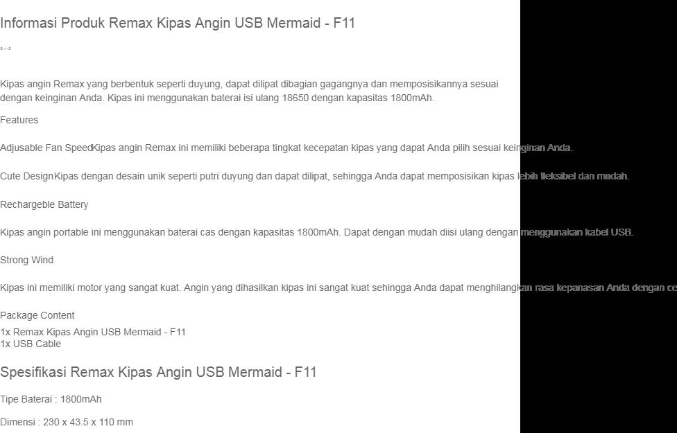 Remax Kipas Angin USB Mermaid F11 Biru Blue Desain Bentuk Duyung Dapat Dilipat Dicas FREE Ongkir