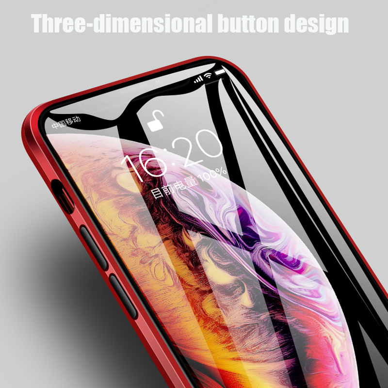IPHONE X IPHONE XS MAX XR IPHONE 7 PLUS CASING HP DOUBLE MAGNETIC 360 PROTECTION HARDCASE TEMPERED GLASS HANDPHONE TRANSPARANT CASE MAGNET SMARTPHONE