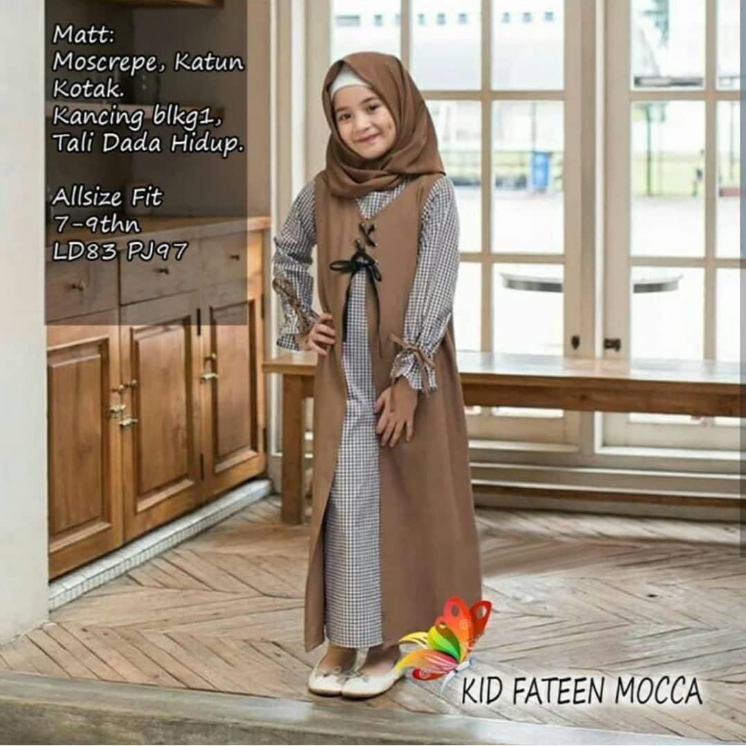 Gamis Faten kids (+pashmina) / gamis anak perempuan / gamis anak anak /  gamis anak terbaru / gamis anak perempuan murah / baju muslim anak / baju