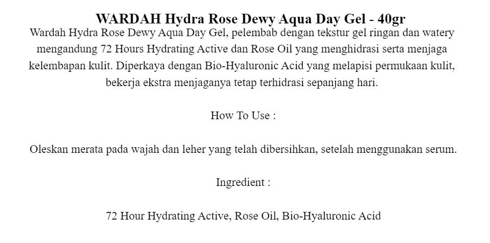 Wardah Hydra Rose Dewy Aqua Day Gel 40gr Lazada Indonesia