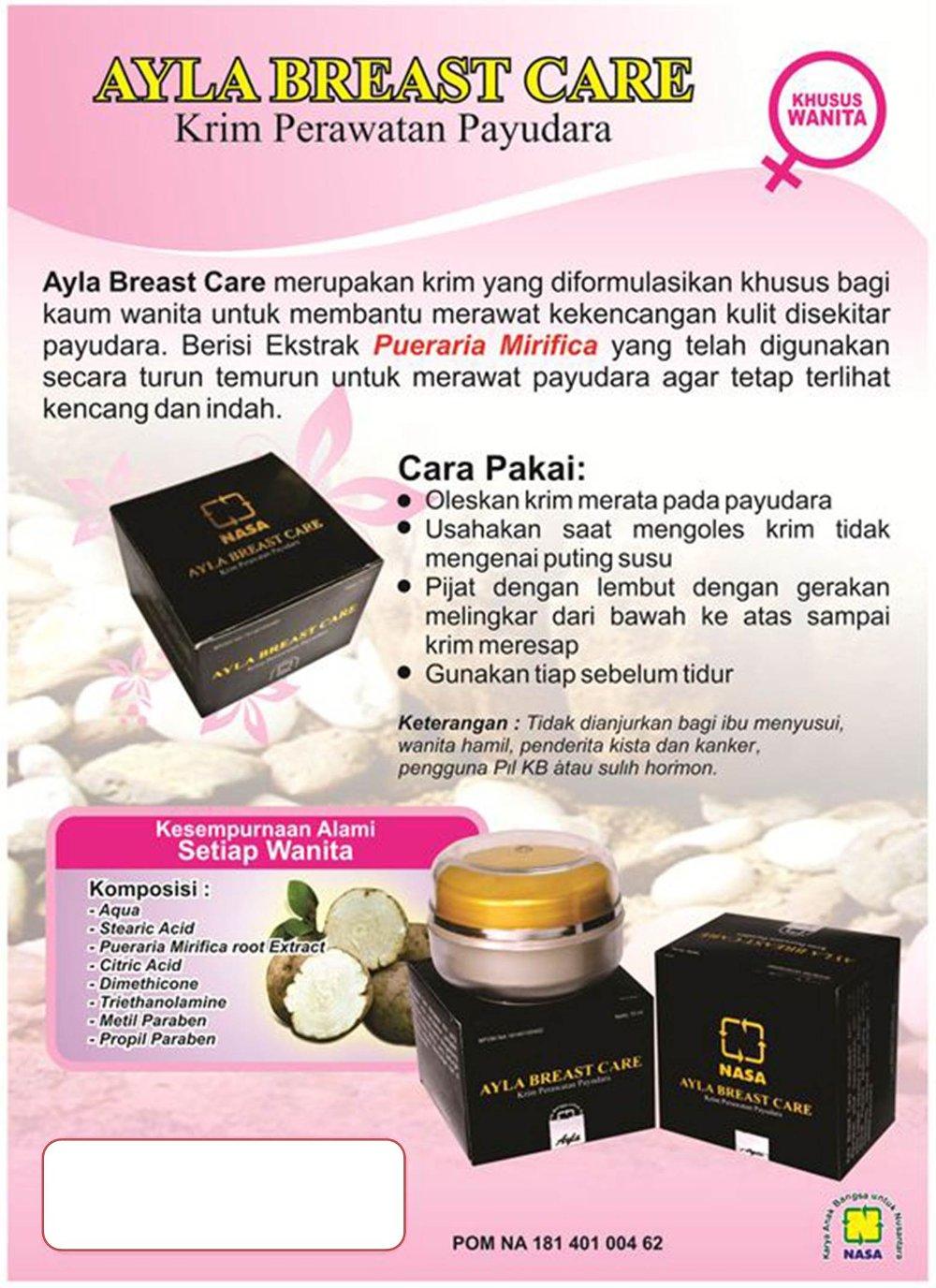 Spesifikasi dari Cream Pembesar Payudara Herbal Ayla Breast Care NASA/ Cream Payudara/ Pembesar Payudara/ Pemontok Payudara/ Payudara Sehat/ cegah kanker ...