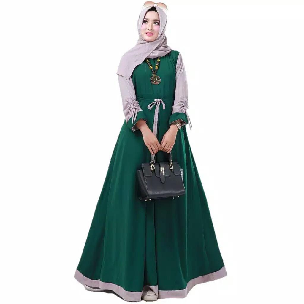 COD Rimas Fashion Baju Gamis Renata Dress Atasan Wanita Muslimah Masa Kini  Lengan Serut Kekinian Warna Kombinasi Minimalis Simple Hits Trendy