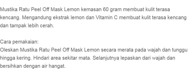 Mustika Ratu Peel Off Mask Lemon - 60 gr