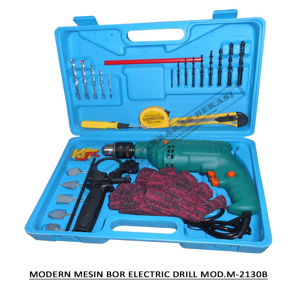 modern electric impact drill mesin bor listrik 13mm 13 mm set aksesoris box type m2130b