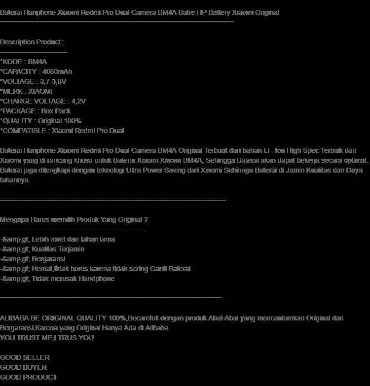 Xiaomi Battery Bm4a Baterai For Xiaomi Redmi Pro Original - Page 2 - Daftar Update Harga