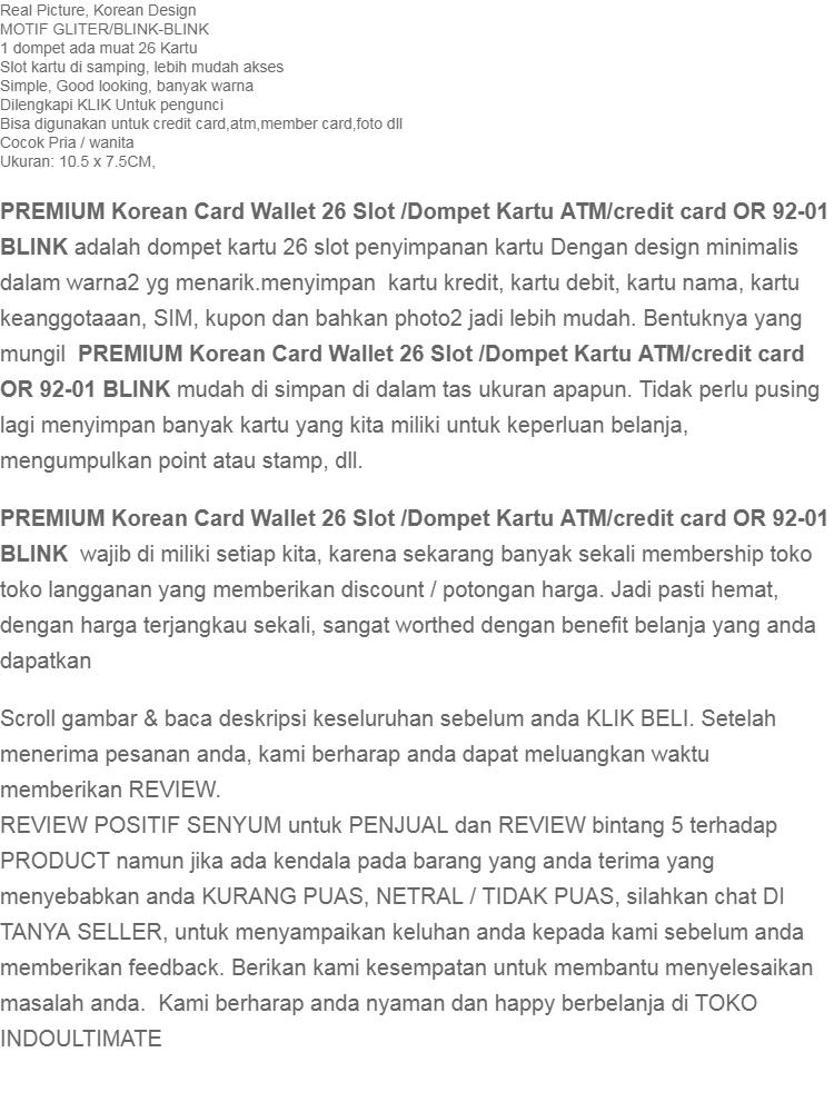 PREMIUM Korean Card Wallet 26 Slot /Dompet Kartu ATM/credit card OR 92-01 BLINK - Red | Lazada Indonesia