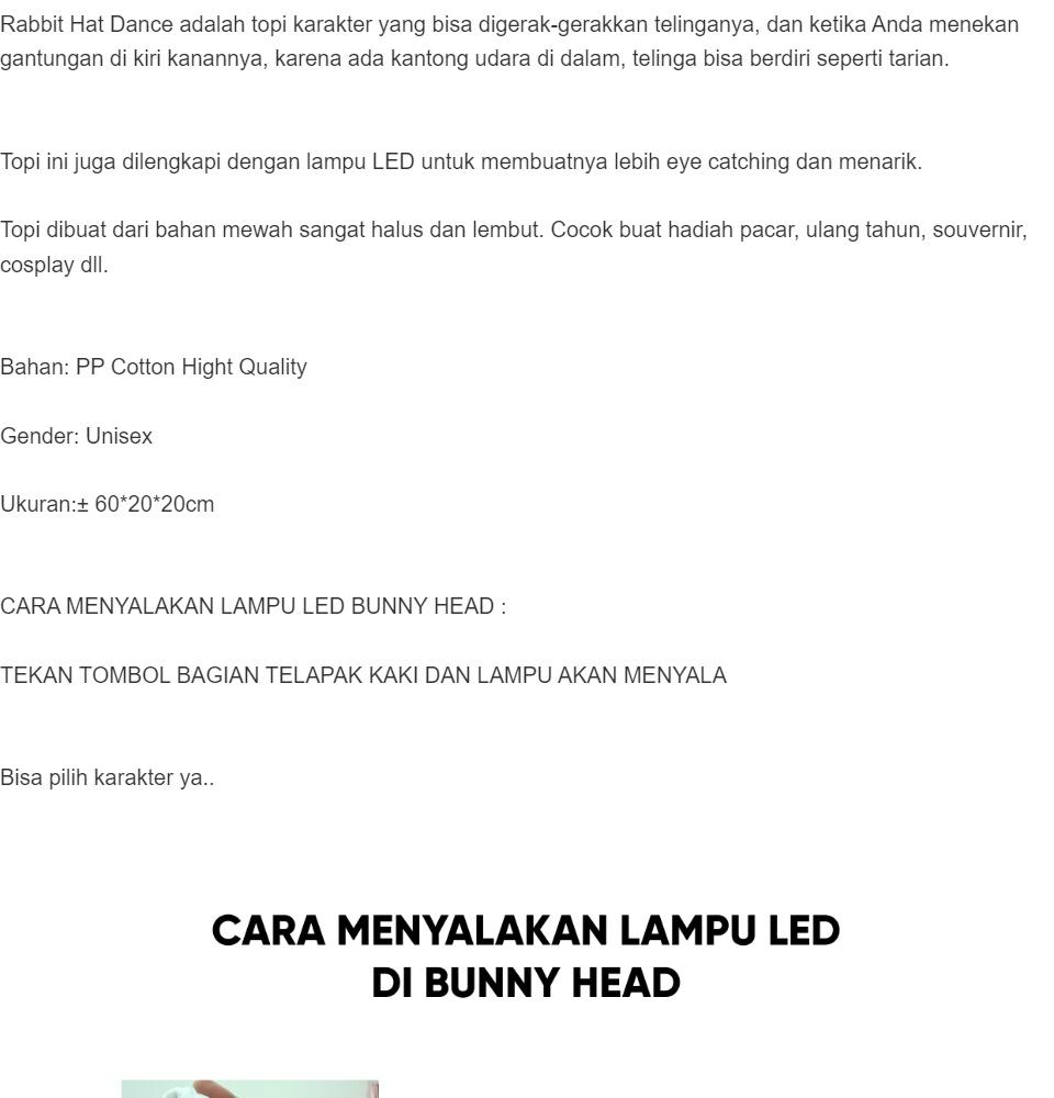 bunny hat led tiktok topi kelinci telinga bisa gerak lampu led motif b8 gajah