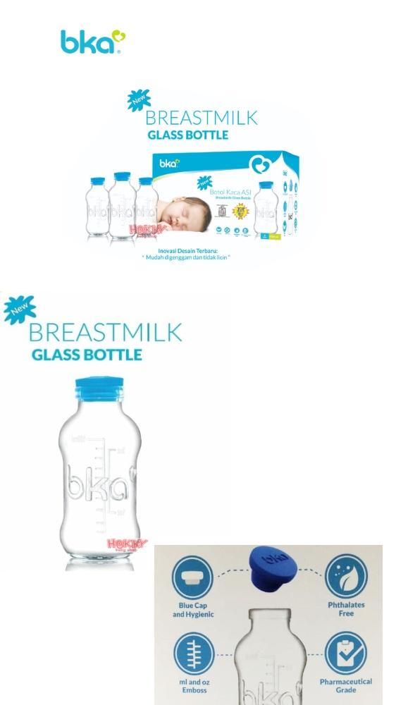 BKA Breastmilk Glass Bottle Botol Kaca Asi Susu 100ml isi 8 Transparan