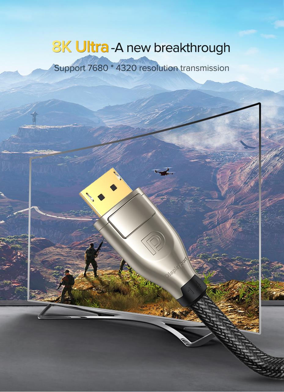 UGREEN DisplayPort 1 4 Cable 8K 4K HDR 165Hz 60Hz Display Port Adapter For  Video PC Laptop TV DP 1 4 1 2 Display Port 1 2 Cable