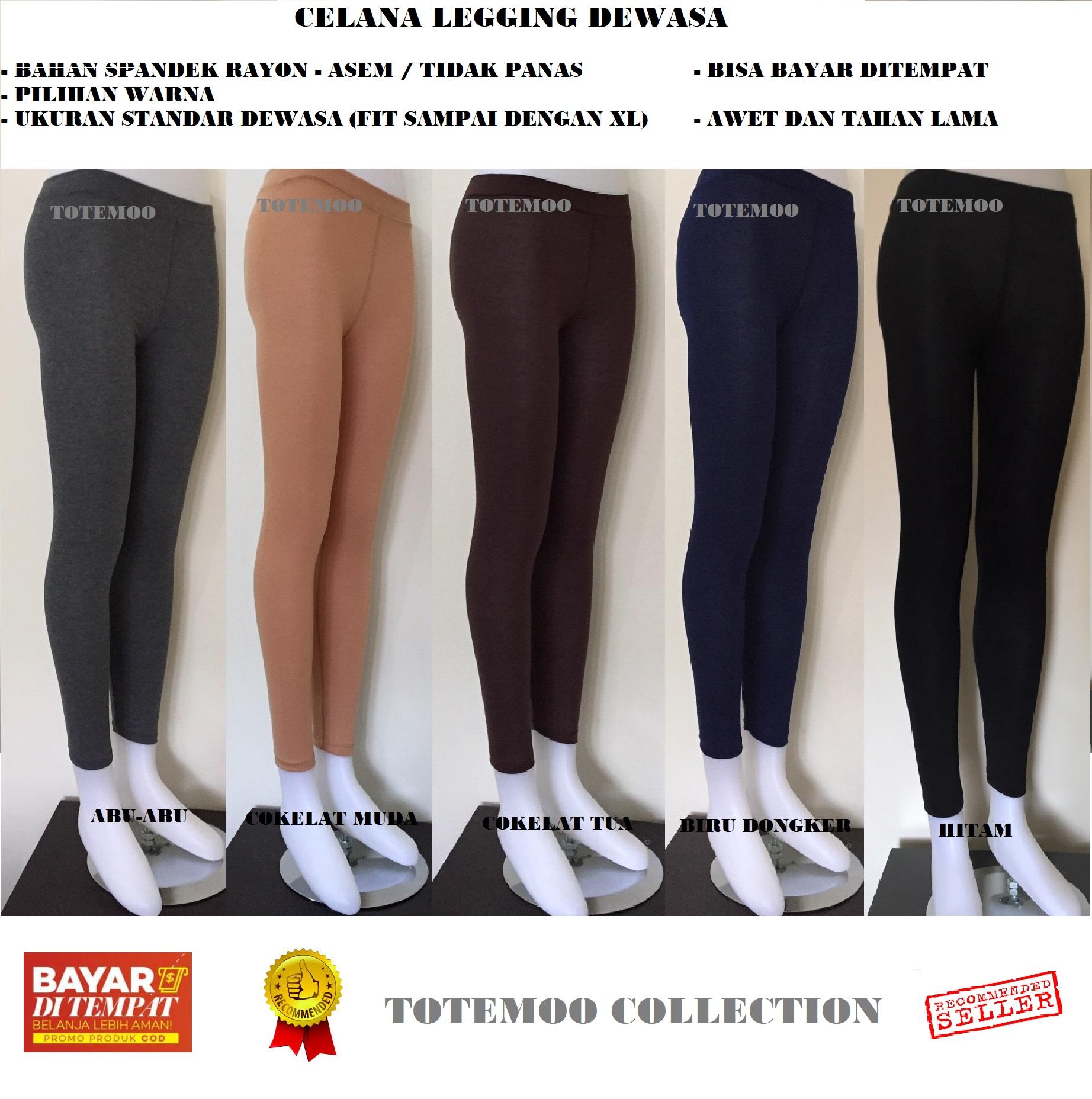 Totemoo Legging Spandek Rayon Ukuran Standar Legging Polos Legging Wanita Celana Wanita Celana Spandek Legging Spandek Lazada Indonesia