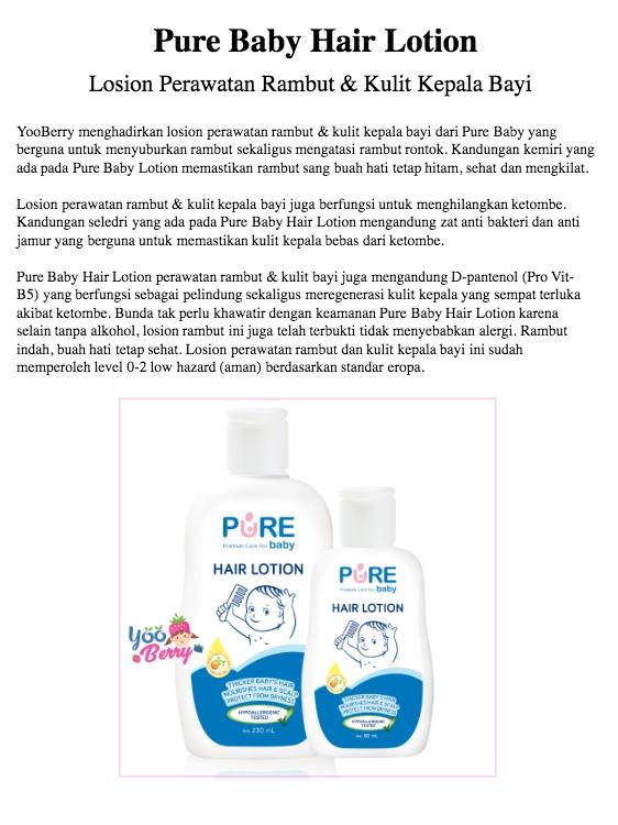 Pure Baby Hair Lotion / Losion Perawatan Rambut & Kulit Kepala Bayi 230 ml YooBerry   Lazada Indonesia