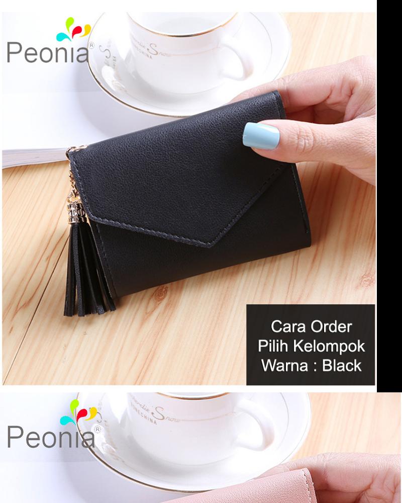 Peonia - Dompet Wanita Kecil Lipat Import - Korea Fashion Style - Tassel Heart Short