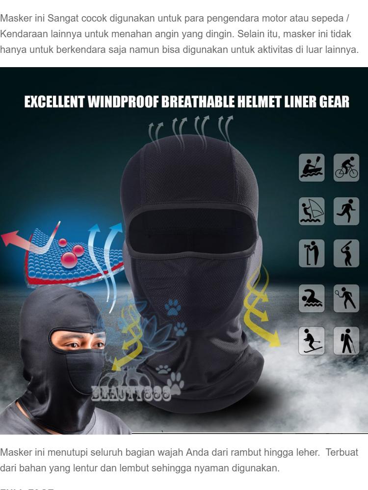 Beauty Masker Wajah Full Face Pelindung Kepala Topeng Ninja / Perlengkapan Keamanan Berkendara Bahan Elastis Menyerap