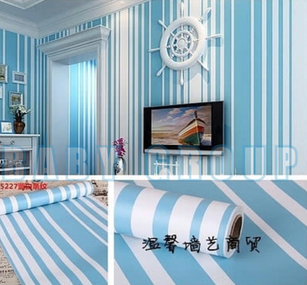 Wallpaper Stiker Dinding Motif Dan Karakter Premium Quality Size 45cm X 10M Garis Biru Laut GH094 CY1100
