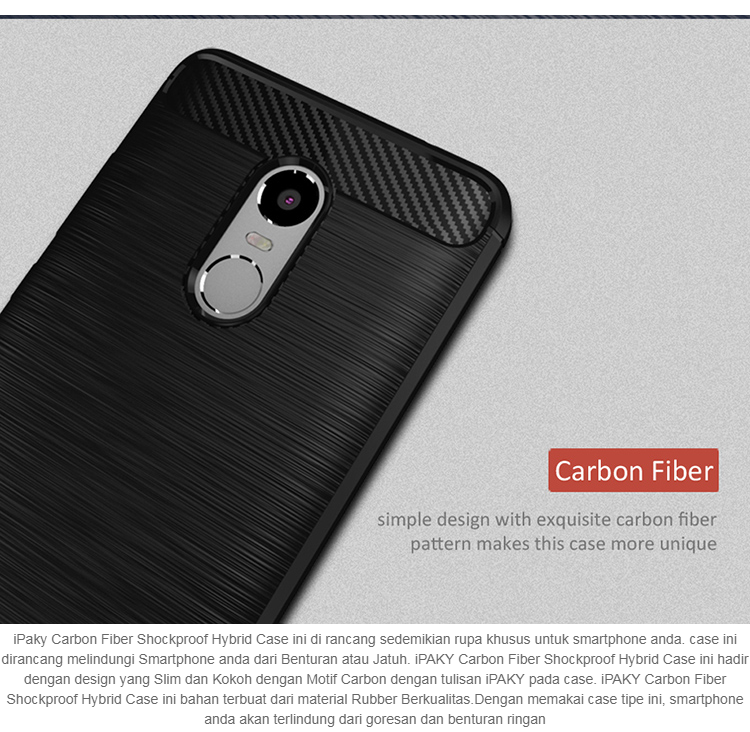 NAFISA Case Ipaky Shockproof Carbon Hybrid For Xiaomi Redmi Note 4 / Note 4x - Hitam