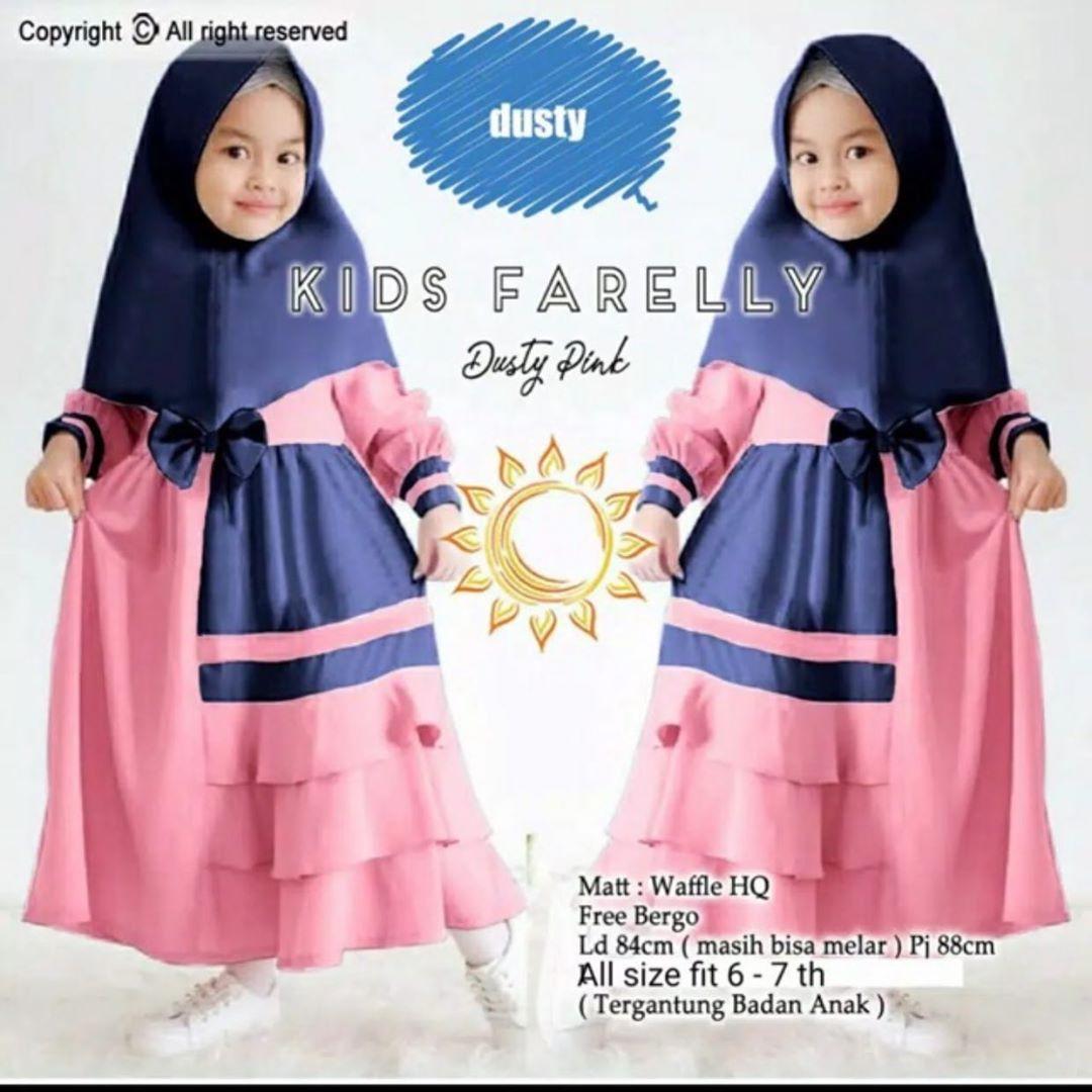 Farelly Gamis Kids (+Khimar) Size S,M,L,XL Bahan Mosscrepe // Baju Setelan  Anak // Gamis Anak Modern // Baju Gamis Anak // Baju Gamis Anak Perempuan