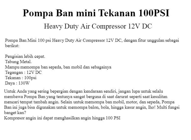 Pompa Ban Mini 100 psi Heavy Duty Air Compressor 12V DC