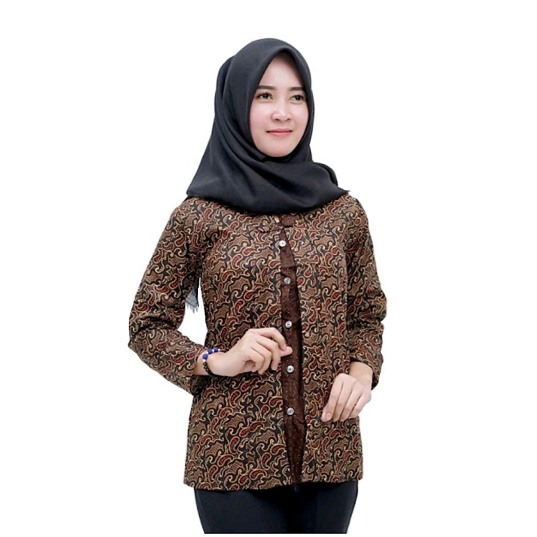 Model Baju Batik Atasan Wanita Lengan Panjang Modern ...