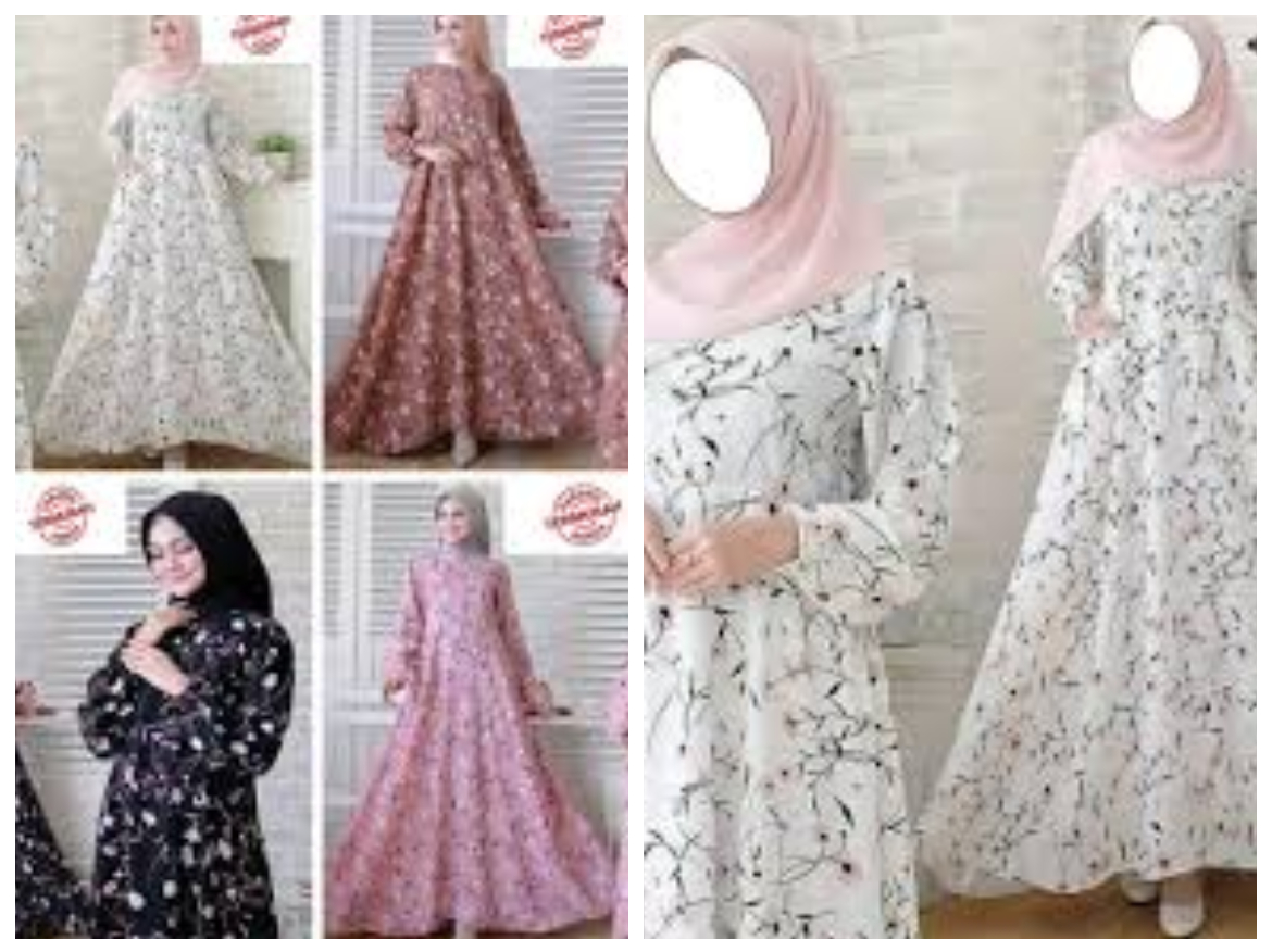 Gamis dress monalisa syari motif bunga resleting depan original
