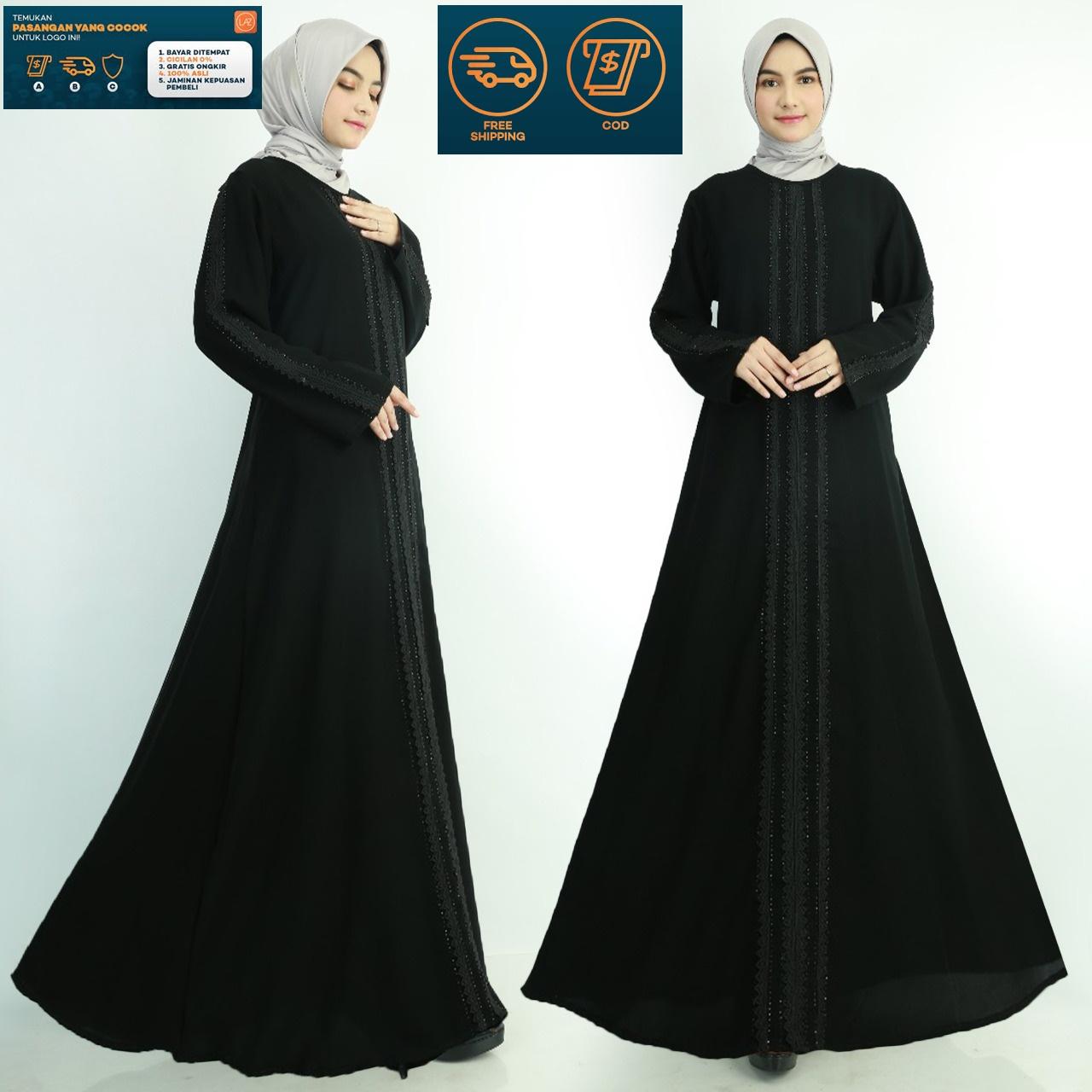 Gamis Abaya Jet Black / Gamis Turky Hitam / Gamis Arab Hitam 11