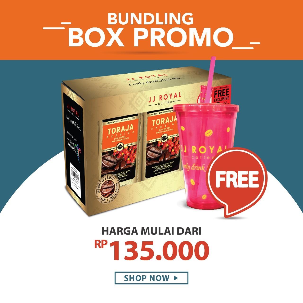Jj Royal Coffee Toraja Arabica Beans Kopi Biji 200gr Daftar Harga Ground Bag 100g Bundling Box Discount 10 Java Estate Get Tumbler