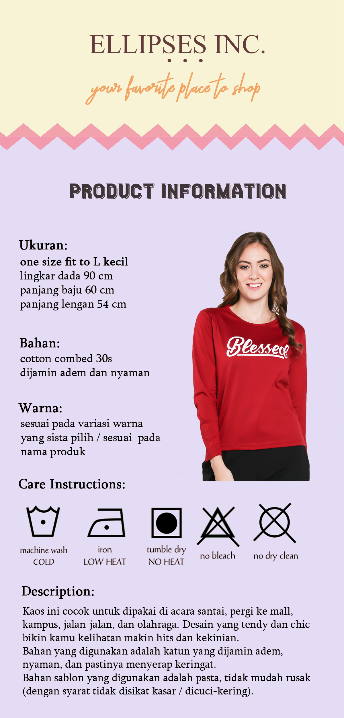 INC Tumblr Tee / T-Shirt / Kaos Wanita Lengan Panjang Stay Simple - Mustard