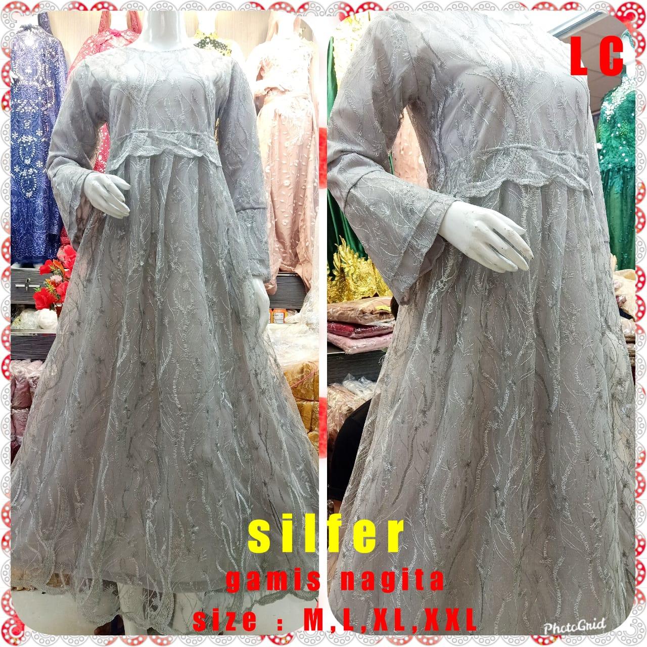 Gamis Muslimah Brukat Tile Nagita / Gamis Brokat Terbaru Buat Acara Formal  & Pengajian (RIIL PICT)