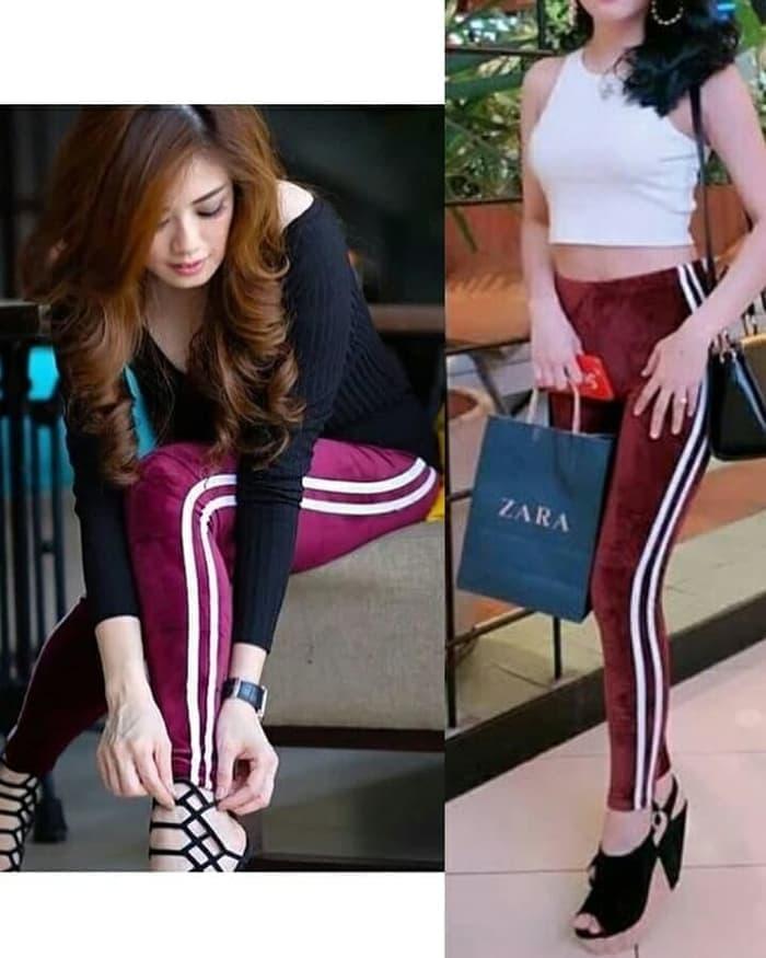 Gizellecollection Celana Legging Bludru List Import Celana Wanita Celana Panjang Beludru Velvet Lazada Indonesia