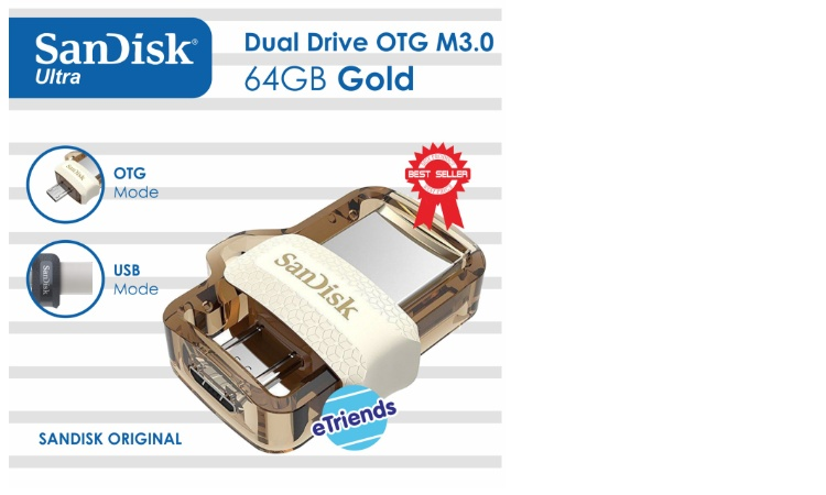 SanDisk Ultra Dual Drive m3.0 Gold Edition 64GB USB 3.0 OTG Flash Drive