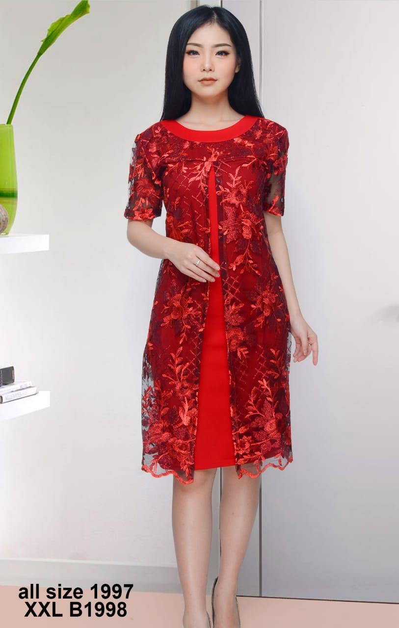 9 Dress Pendek Kombinasi Brokat - Model Baju  Gamis  Celana