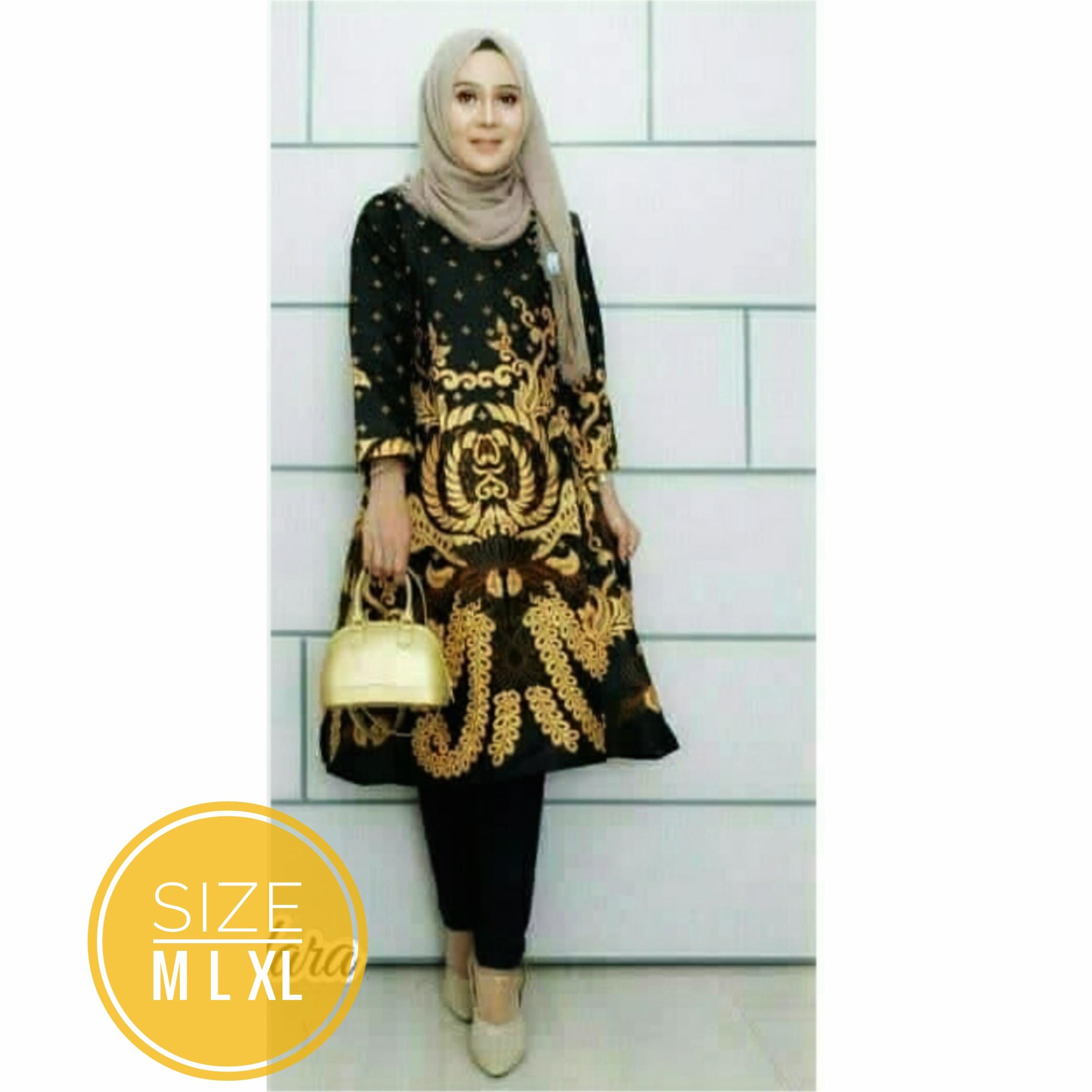 Baju Batik Atasan Wanita Baju Batik Tunik Wanita Batik Tunik Modern Kombinasi Dress Batik Azka Batik