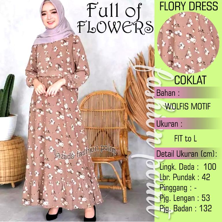 Busana Muslim Wanita Dress Terusan Motif Bunga Flory Dress Baju Gamis Remaja Wanita Tangan Kerut Coklat Jp Lazada Indonesia