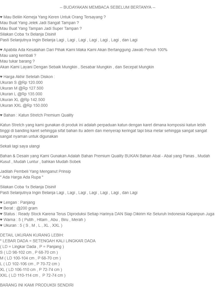 CORATCORETUDIO - Kemeja Pria Hem Cowok Lengan Panjang Sablon Garis PUTIH HITAM / Ukuran S M L XL XXL / Kecil Kurus Besar Gemuk Gendut Jumbo