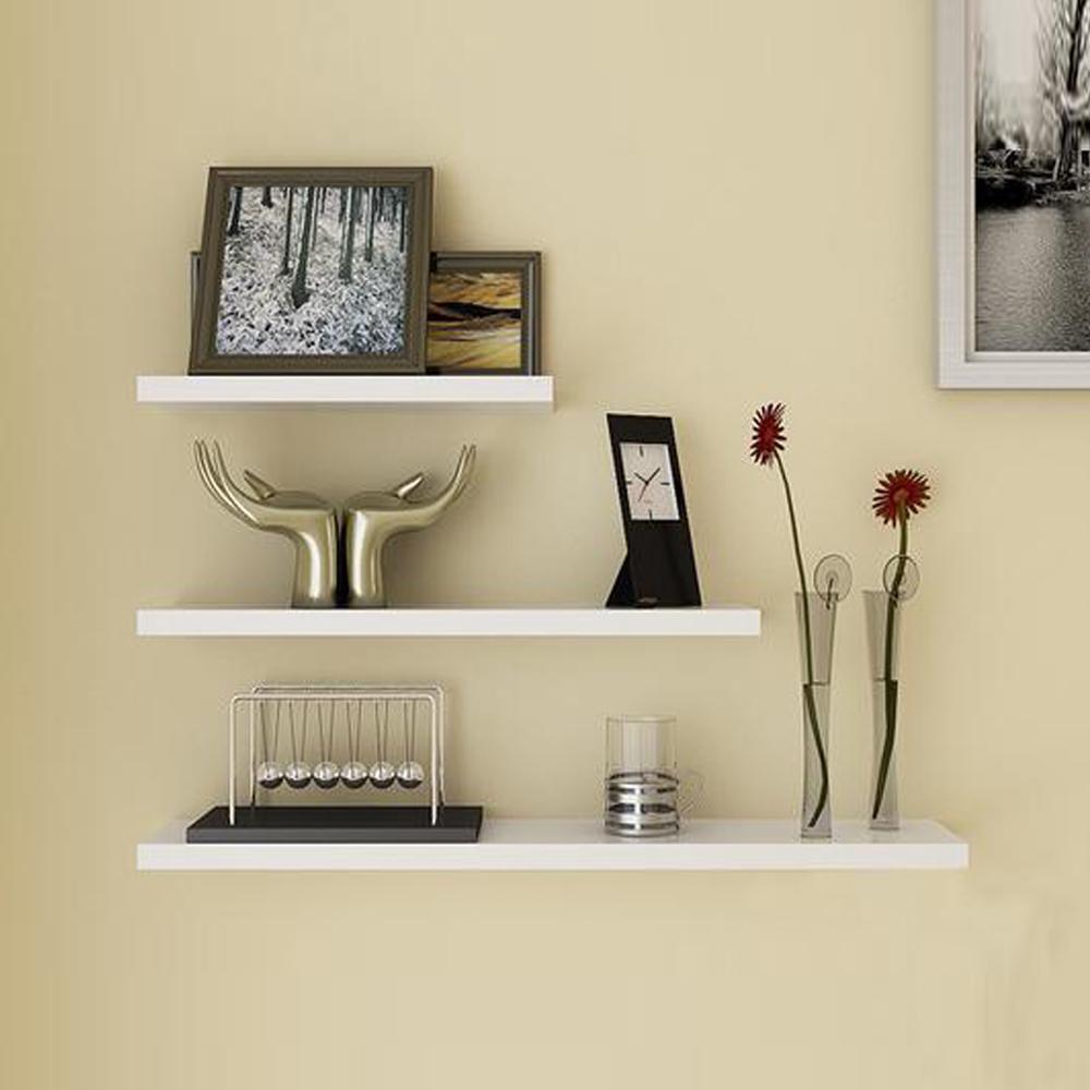Promo Set 6 Buah Floating Shelves Ambalan Rak Dinding Minimalis 40cm 30cm 20cm Hitam Putih
